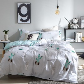 Light Green Cactus Fresh Style Cotton 4-Piece Bedding Sets/Duvet Cover