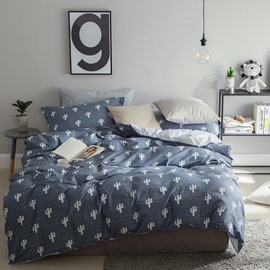 White Cactus Pattern Fresh Style Cotton Bedding Sets/Duvet Cover