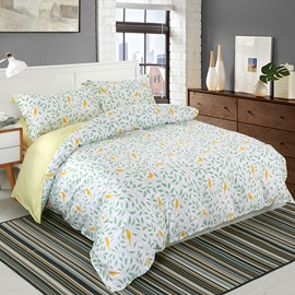Designer 60S Brocade Green Leaves Yellow Birds Pastoral Style 4-Piece Cotton Bedding Sets