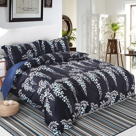 Designer 60S Brocade Leaves Strings and Flowers Pattern Black 4-Piece Cotton Bedding Sets