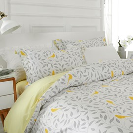 Designer 60S Brocade Gray Leaves and Yellow Birds Pattern 4-Piece Cotton Bedding Sets