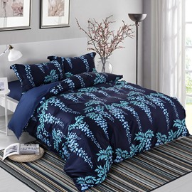 Designer 60S Brocade Silver Leaves Strings 4-Piece Cotton Bedding Sets/Duvet Cover