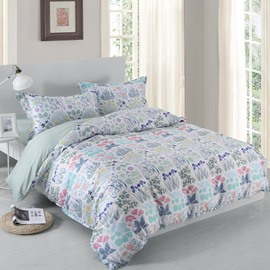 Designer 60S Brocade Spring Green Plants and Flowers Blossom 4-Piece Cotton Bedding Sets