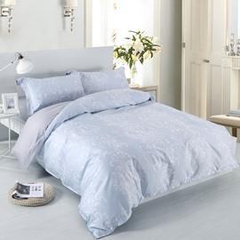 Designer 60S Brocade White Plants Pattern 4-Piece Cotton Bedding Sets/Duvet Cover