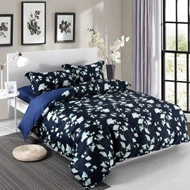 Designer 60S Brocade Silver Ginkgo Leaves Pattern Dark Blue 4-Piece Cotton Bedding Sets