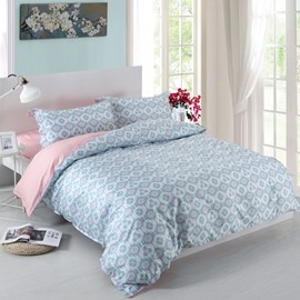 Designer 60S Brocade Shallow Window Flowers Embellished 4-Piece Cotton Bedding Sets/Duvet Cover
