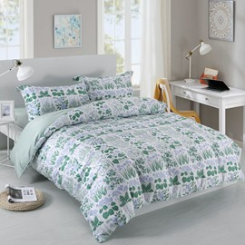 Designer 60S Brocade Spring Green Buds Pattern Pastoral Style 4-Piece Cotton Bedding Sets