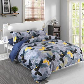 Adorila 60S Brocade Black Yellow and Blue Butterflies Pattern 4-Piece Cotton Bedding Sets