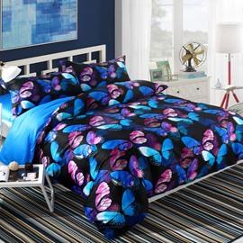 Adorila 60S Brocade Magical Blue Pink Morpho Butterflies Printed 4-Piece Cotton Bedding Sets
