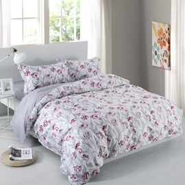 Designer 60S Brocade Wine Red Flowers Blossom Grey Leaves 4-Piece Cotton Bedding Sets