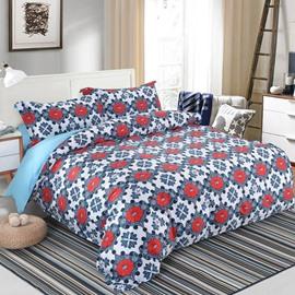 Designer 60S Brocade Red Window Flowers Embellished 4-Piece Cotton Bedding Sets/Duvet Cover