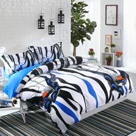 Adorila 60S Brocade Zebra Butterflies Wings Pattern 4-Piece Cotton Bedding Sets/Duvet Cover