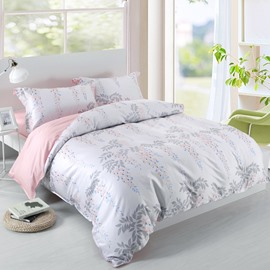 Designer 60S Brocade Leaves Strings and Pink Flowers 4-Piece Cotton Bedding Sets