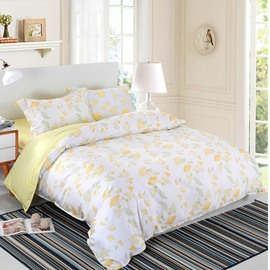 Designer 60S Brocade Yellow and Green Ginkgo Leaves Pattern 4-Piece Cotton Bedding Sets