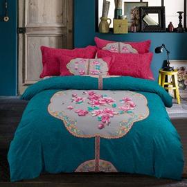 Artful Pink Flowers Ethnic Style Acid Blue Cotton 4-Piece Bedding Sets/Duvet Cover