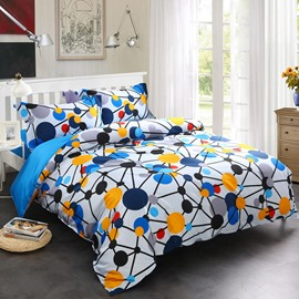 Adorila 60S Brocade Blue Spotted Flashbulb Printed Modern Style 4-Piece Cotton Bedding Sets