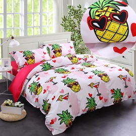 Adorila 60S Brocade Sweet Pineapples Seaside Party Casual Style 4-Piece Cotton Bedding Sets