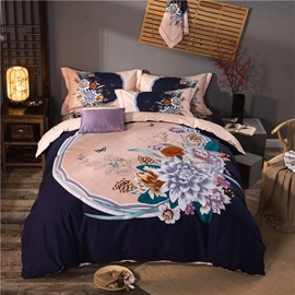 Butterflies Flying and Flowers Blooming Brushed Cotton 4-Piece Bedding Sets/Duvet Cover