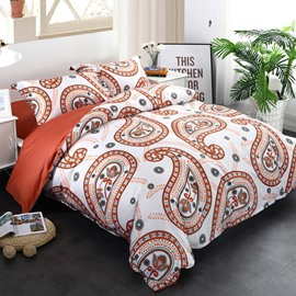 Adorila 60S Brocade Orange Floral Paisley Pattern Exotic Style 4-Piece Cotton Bedding Sets