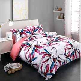 Adorila 60S Brocade Gorgeous Colorful Magnolia Printed 4-Piece Cotton Bedding Sets