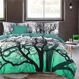 Adorila 60S Brocade Tree Branches Cluster Printed 4-Piece Cotton Green Bedding Sets