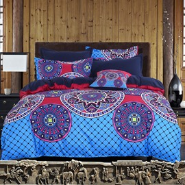 Adorila 60S Brocade Chic Mandala Pattern Exotic Style Blue Cotton 4-Piece Bedding Sets