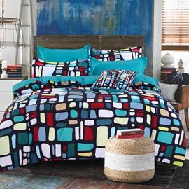 Adorila 60S Brocade Multi-Color Glazed Bricks Buildings 4-Piece Cotton Bedding Sets
