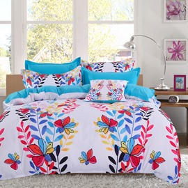Adorila 60S Brocade Colorful Butterflies and Leaves Strings Pattern 4-Piece Cotton Bedding Sets