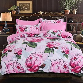Adorila 60S Brocade Elegant Pink Peony Blossom Pastoral Style 4-Piece Cotton Bedding Sets