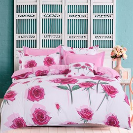 Adorila 60S Brocade Bunches of Roses Romantic 4-Piece Cotton Bedding Sets/Duvet Cover