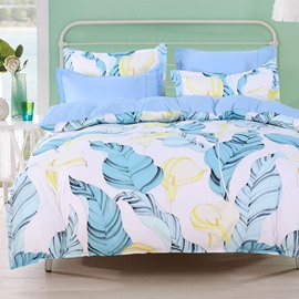 Designer 60S Brocade Blue Palm Leaves Yellow Calla Lily 4-Piece Cotton Bedding Sets