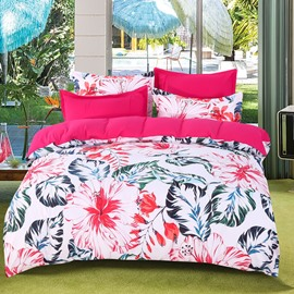 Designer 60S Brocade Blooming Flowers with Green Palm Leaves 4-Piece Cotton Bedding Sets