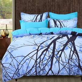 Adorila 60S Brocade Dreamy Light Blue Withered Tree Branches 4-Piece Cotton Bedding Sets