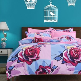 Adorila 60S Brocade Multi-Color Roses Blooming 4-Piece Cotton Bedding Sets/Duvet Cover