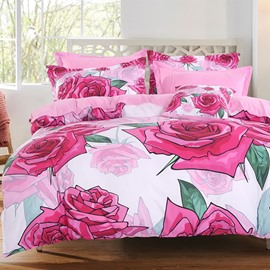 Adorila 60S Brocade Sweet Blooming Pink Rose 4-Piece Cotton Bedding Sets/Duvet Cover
