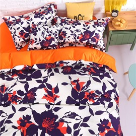 Adorila 60S Brocade Autumn Floral Silhouette Pattern 4-Piece Cotton Bedding Sets/Duvet Cover