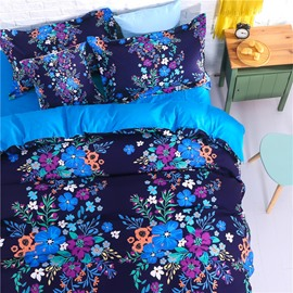 Adorila 60S Brocade Mysterious Floral Blossom Pattern 4-Piece Cotton Bedding Sets/Duvet Cover