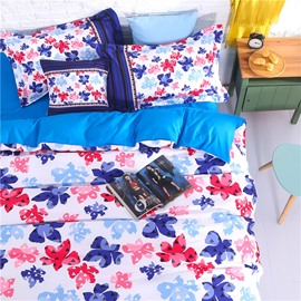 Adorila 60S Brocade Colorful Floral Silhouette Pattern 4-Piece Cotton Bedding Sets/Duvet Cover