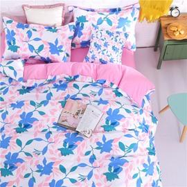 Adorila 60S Brocade Fresh Floral Silhouette Pattern 4-Piece Cotton Bedding Sets/Duvet Cover