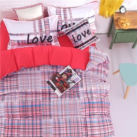 Adorila 60S Brocade Thickly Dotted Plaid Pattern 4-Piece Cotton Bedding Sets/Duvet Cover