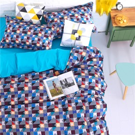 Adorila 60S Brocade Colorful Geometric Grid 4-Piece Cotton Bedding Sets/Duvet Cover
