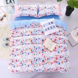 Adorila 60S Brocade Colorful Geometric Bricks Pattern 4-Piece Cotton Bedding Sets/Duvet Cover