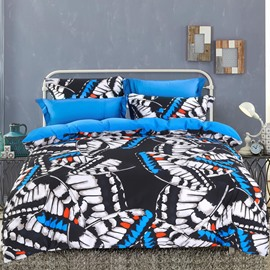 Adorila 60S Brocade Dazzling Flying Butterflies Printed 4-Piece Cotton Bedding Sets/Duvet Cover