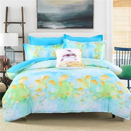 Adorila 60S Brocade Watercolor Painting Yellow Ginkgo Leaves Pattern 4-Piece Cotton Bedding Sets