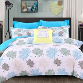 Adorila 60S Brocade Shallow Maple Leaves Pattern 4-Piece Cotton Bedding Sets/Duvet Cover
