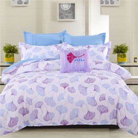 Adorila 60S Brocade Light Purple Ginkgo Leaves Pattern 4-Piece Cotton Bedding Sets
