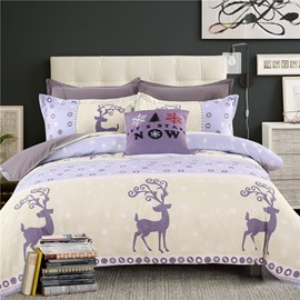 Adorila 60S Brocade Cartoon Reindeer and Snowflake Cotton 4-Piece Bedding Sets/Duvet Cover