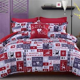 Adorila 60S Brocade Winter Wonderland with Reindeer Snowflake Pattern Cotton 4-Piece Bedding Sets
