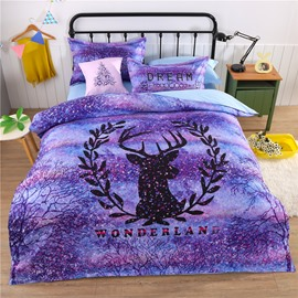 Adorila 60S Brocade Dreamy Purple Wonderland with Reindeer Pattern Cotton 4-Piece Bedding Sets