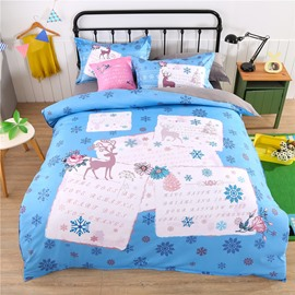 Adorila 60S Brocade Reindeer and Snowflakes Pattern Blue Cotton 4-Piece Bedding Sets